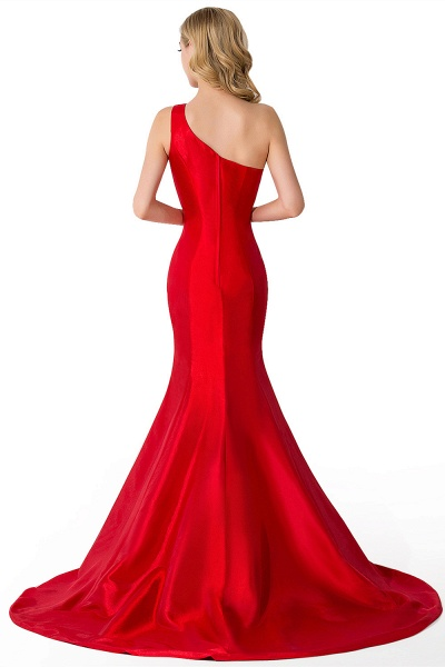 Elegant One Shoulder Satin Mermaid Evening Dress_10