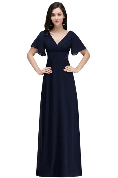 A-line V-neck Floor Length Chiffon Bridesmaid Dress_4