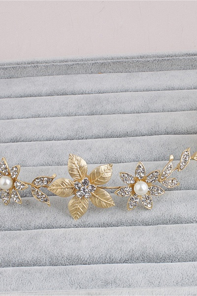 Floral Alloy&Imitation Pearls Daily Wear Hairpins Headpiece with Rhinestone_6