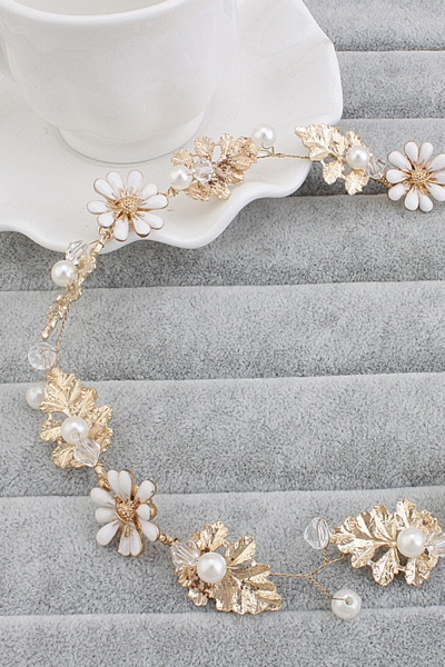 Cute Alloy&Imitation Pearls Party Hairpins Headpiece with Crystal