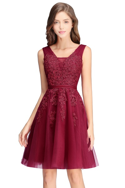 Glorious V-neck Tulle A-line Evening Dress_4
