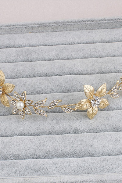 Floral Alloy&Imitation Pearls Daily Wear Hairpins Headpiece with Rhinestone_7
