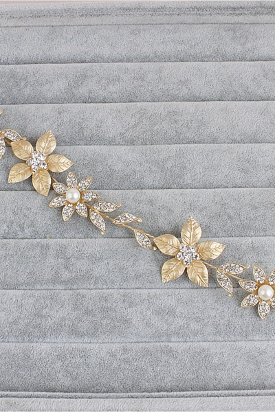 Floral Alloy&Imitation Pearls Daily Wear Hairpins Headpiece with Rhinestone_4