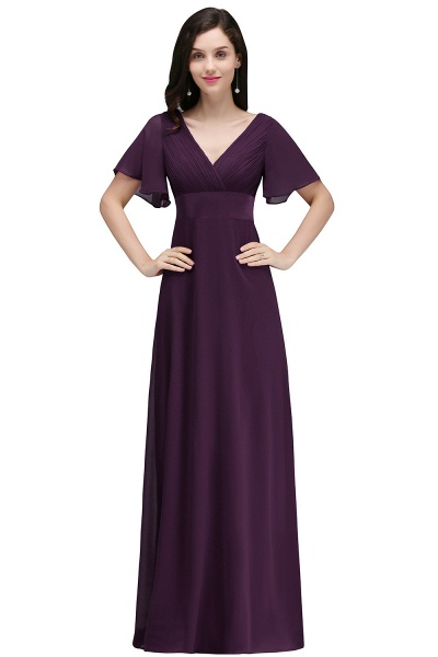 A-line V-neck Floor Length Chiffon Bridesmaid Dress_2