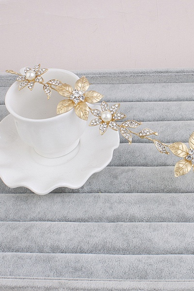 Floral Alloy&Imitation Pearls Daily Wear Hairpins Headpiece with Rhinestone_3