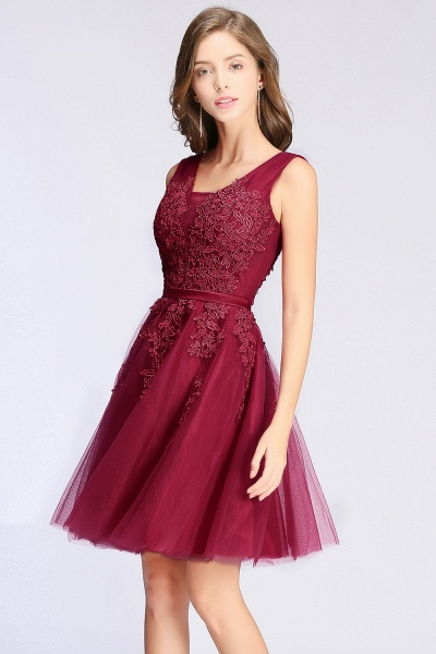 Glorious V-neck Tulle A-line Evening Dress_12