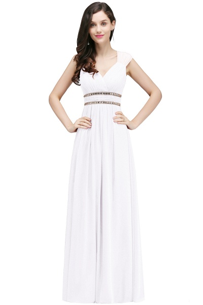 V-neck Cap Sleeves Chiffon Column Floor Length Bridesmaid Dress_1