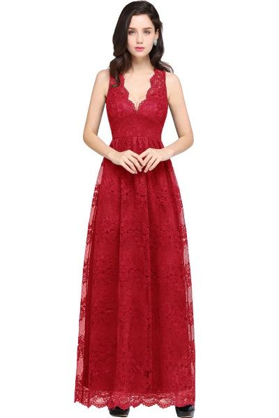 Amazing V-neck Lace Column Bridesmaid Dress_1