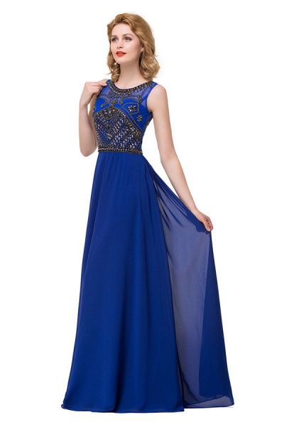 Beautiful Jewel Chiffon A-line Evening Dress_4