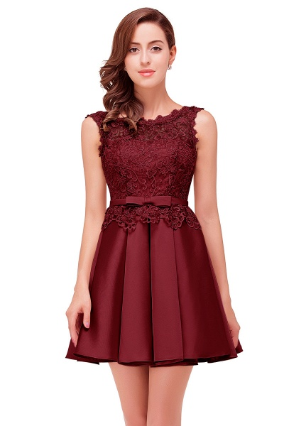 A-line Lace Knee-length Satin Homecoming Dress_4