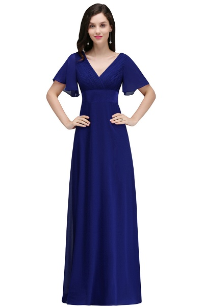 A-line V-neck Floor Length Chiffon Bridesmaid Dress_3