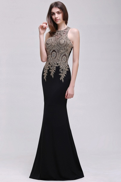 BM0121 Straps Black Mermaid Appliques Sleeveless Bridesmaid Dresses