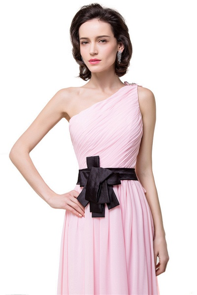 One Shoulder Chiffon A-line Floor Length Bridesmaid Dress_6