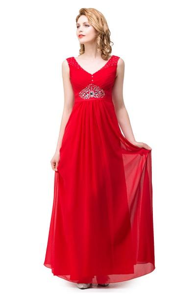 V-neck Chiffon A-line Knee Length Bridesmaid Dress_4