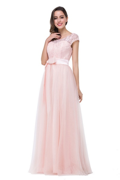 Off The Shoulder Cap Sleeves Chiffon A-line Bridesmaid Dress_1