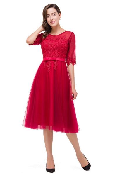 Half Sleeves Lace A-line Tea Length Bridesmaid Dress_4