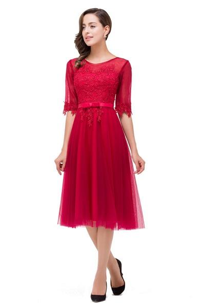 Half Sleeves Lace A-line Tea Length Bridesmaid Dress_6