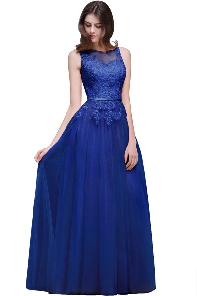 A-line Floor-Length Tulle Bridesmaid Dress With Lace_5