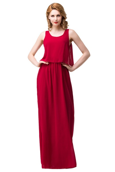 Square Chiffon A-line Floor Length Bridesmaid Dress_4