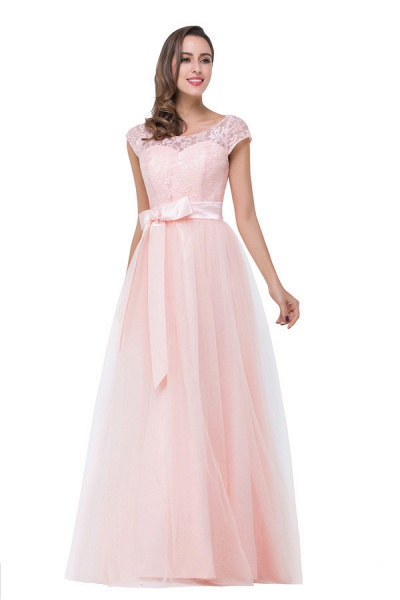 Off The Shoulder Cap Sleeves Chiffon A-line Bridesmaid Dress_5