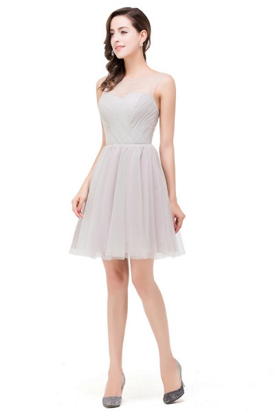 Chiffon A-line Mini Bridesmaid Dress_4