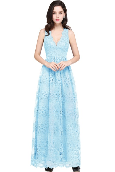 Amazing V-neck Lace Column Bridesmaid Dress_5