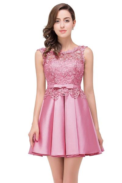 A-line Lace Knee-length Satin Homecoming Dress_3
