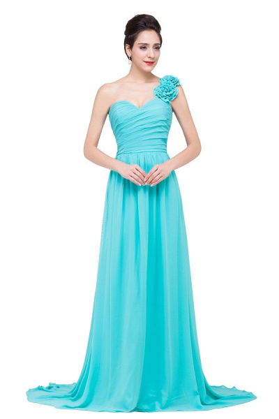 One Shoulder Chiffon A-line Floor Length Bridesmaid Dress_5