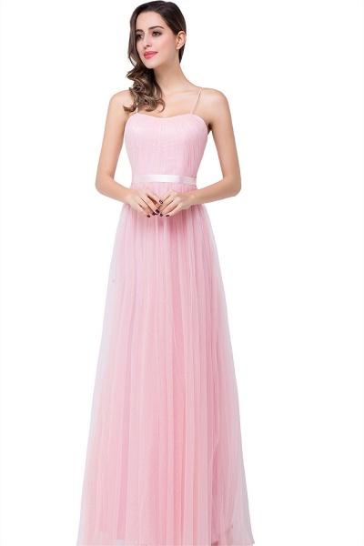 ELLIS | A-line Sweetheart Floor-length Pink Tulle Ruffles Bridesmaid Dresses_2