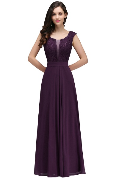 Scoop Cap Sleeves Satin Chiffon A-line Floor Length Bridesmaid Dress_2