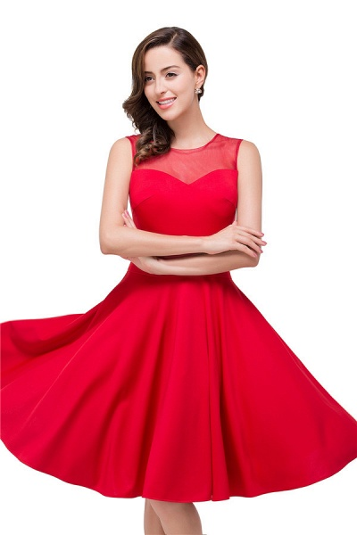 Chiffon A-line Knee Length Bridesmaid Dress_6