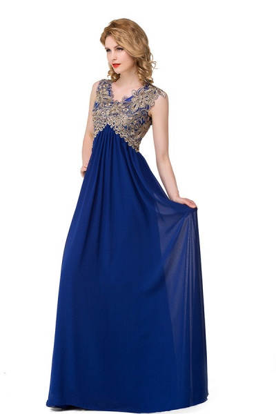 Excellent V-neck Chiffon A-line Evening Dress_1