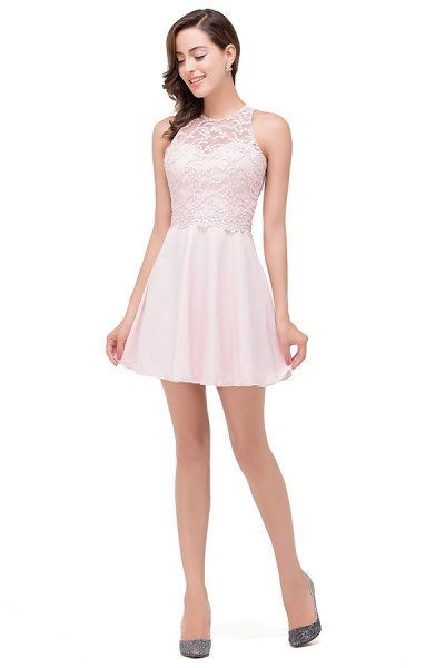 Short Sleeves Chiffon A-line Mini Bridesmaid Dress_4