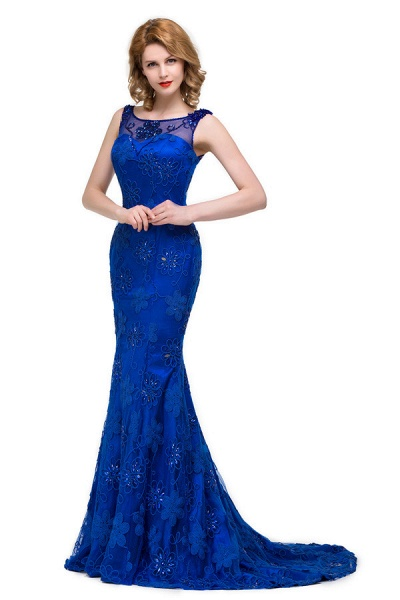 Modest Jewel Taffeta Mermaid Evening Dress_7