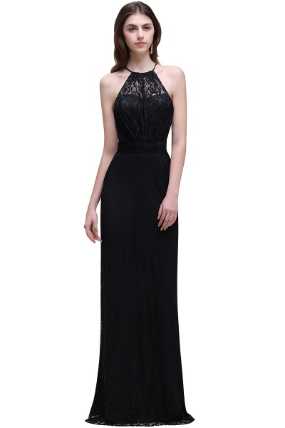 CHARLEE | Column Floor length Halter Navy blue Prom Dress_4