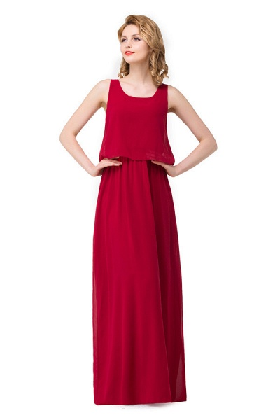 Square Chiffon A-line Floor Length Bridesmaid Dress_5