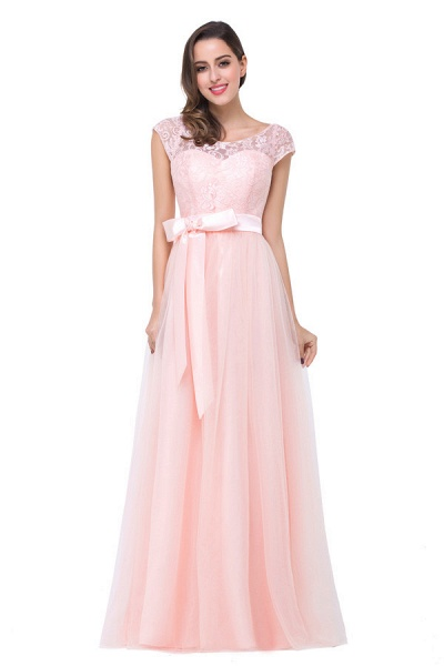 Off The Shoulder Cap Sleeves Chiffon A-line Bridesmaid Dress_6