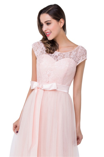 Off The Shoulder Cap Sleeves Chiffon A-line Bridesmaid Dress_9