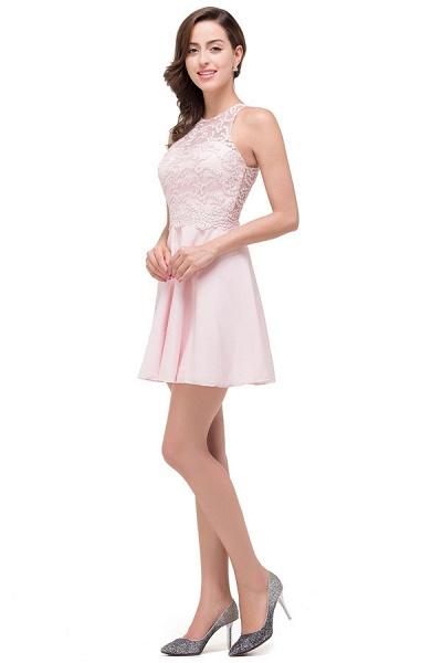 Short Sleeves Chiffon A-line Mini Bridesmaid Dress_7