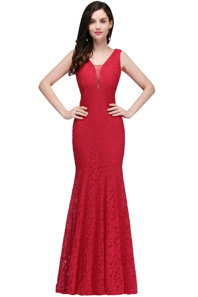 Elegant Mermaid Lace V-Neck Sleeveless Floor-Length Bridesmaid Dresses_1
