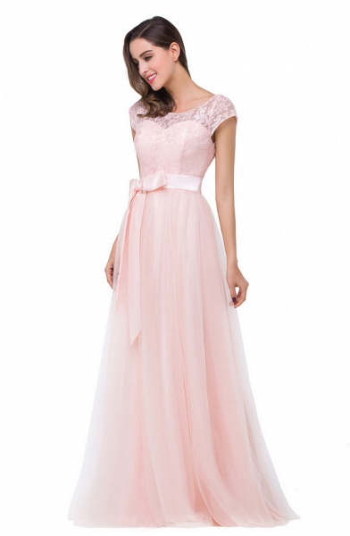 Off The Shoulder Cap Sleeves Chiffon A-line Bridesmaid Dress_3