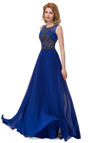 Beautiful Jewel Chiffon A-line Evening Dress_2