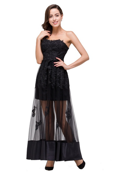 Fascinating Strapless Tulle A-line Evening Dress_6