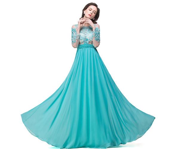 Eye-catching Jewel Chiffon A-line Evening Dress_5