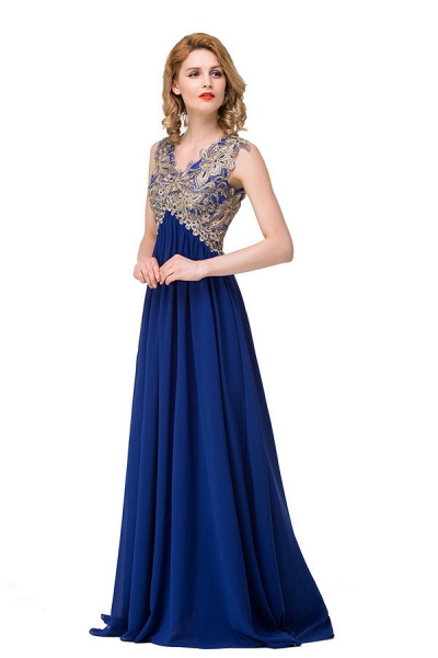 Excellent V-neck Chiffon A-line Evening Dress_3