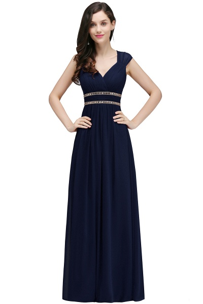 V-neck Cap Sleeves Chiffon Column Floor Length Bridesmaid Dress_6