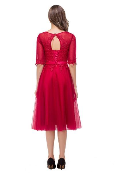 Half Sleeves Lace A-line Tea Length Bridesmaid Dress_8