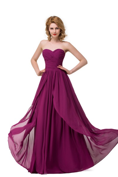 Sweetheart A-line Floor Length Bridesmaid Dress_4