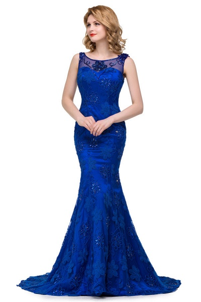 Modest Jewel Taffeta Mermaid Evening Dress_6