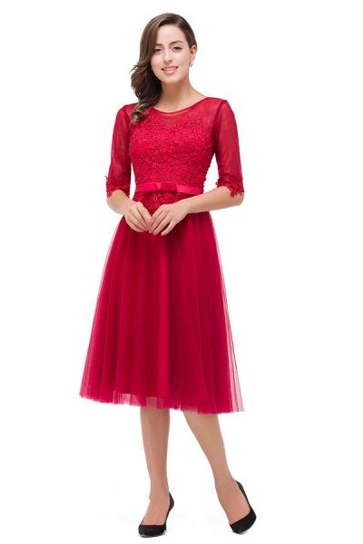 Half Sleeves Lace A-line Tea Length Bridesmaid Dress_3